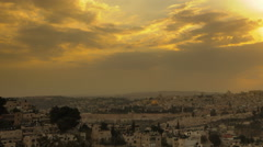 Panning shot of Sunset time-lapse from the BYU Jerusalem center. Stock Footage