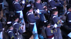 American military parade and bagpipes. Audio Stock Footage