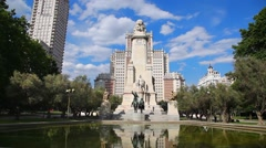 The Cervantes monument and Tower of Madrid, Spain Stock Footage