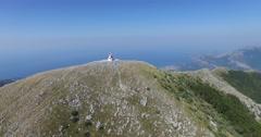 Chapel on top of Mount Rumija, Bar city, Montenegro Stock Footage
