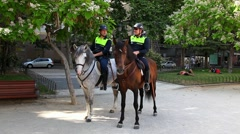 Horse police on the Plaza de Espana, Spain Square, Madrid Stock Footage