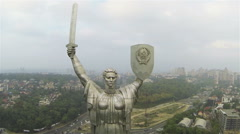 Kiev ,Ukraine. Motherland  Monument  of Soviet time .Aerial  lateral  fly Stock Footage