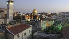 Tracking time-lapse of Jerusalem and the Dome of the Rock at sunset. Cropped. Stock Footage