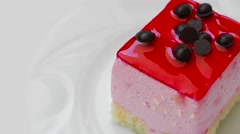 Pudding with strawberry jam and chocolate decoration Stock Footage