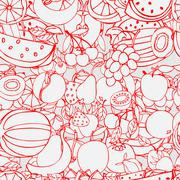 Seamless pattern with set of sweet fruits and berries. Apples, w - stock illustration