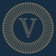 Vector illustration of letter . Fonts of Mesh polygonal. Wire frame contour Stock Illustration
