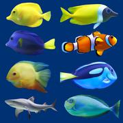 Set of tropical fish. Vector illustration - stock illustration