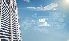 Jet with skyscraper and icons Stock Illustration