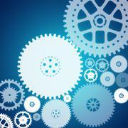 Cog wheels on blue - stock illustration