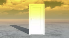4k open door & timelapse flying clouds on the wide plains,sci-fi scenes. - stock footage