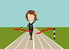 Business woman crossed finish line with trophy - stock illustration