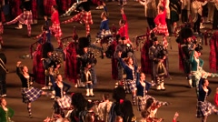 Scottish military parade . Dancers . Bagpipes. Audio Stock Footage