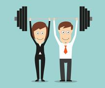 Business team holding a barbell above heads - stock illustration