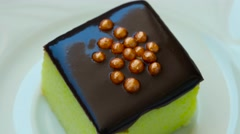 Kiwi pudding with chocolate and decoration no top Stock Footage