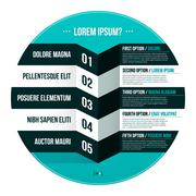 Modern hipster layout with five options in circle. EPS10. - stock illustration