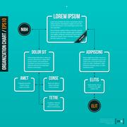 Organization chart template on turquoise background. EPS10. Stock Illustration
