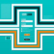 Login form with flat lines on turquoise background. EPS10. - stock illustration