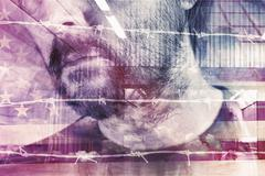 Double exposure portrait of adult male American - stock illustration