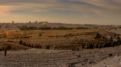 Panning shot of Time-lapse from the Mount of Olives overlooking the cemetery Stock Footage