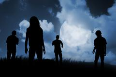Group of zombie walking at night Stock Photos