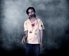 Creepy Male Zombie - stock photo
