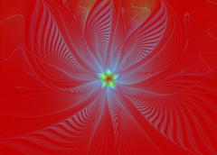 abstract fractal wave pattern on red background - stock illustration