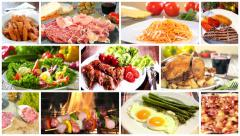 Stock Video Footage of various delicious food recipes collage