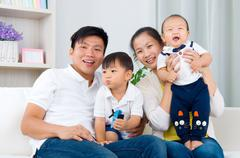 asian family - stock photo