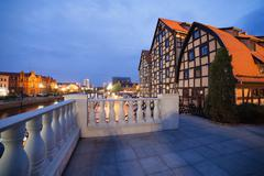 Stock Photo of Granaries in Bydgoszcz at Dusk