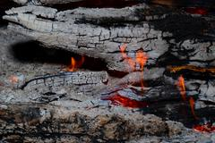 Flame tips on the firewood. Stock Photos