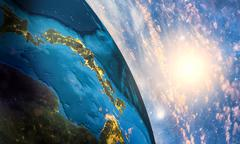 Detailed colorful Earth - stock illustration