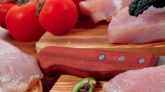 Turkey meat steak fillet with vegetables Stock Footage