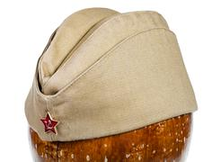 military green garrison cap with soviet red star - stock photo
