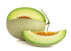 cantaloupe melon isolated on the white background - stock photo