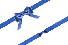 Stock Photo of blue satin bows and ribbons isolated - set 32