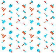 Constructing and building icons seamless pattern - stock illustration