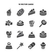 Collection of bakery and cake icons. Candy, sweet set - stock illustration