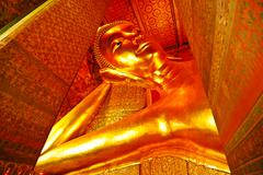 image of gold color buddha in the temple bangkok thailand - stock photo