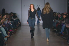 Fashion models walking on runway for Habitual Collection Stock Footage