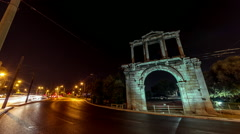 Night Timelapse Arch of Hadrian motion control pan Olympeion 25p Stock Footage