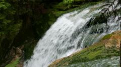 Szklarka Waterfall -  side view. The Karkonoski National Park Stock Footage