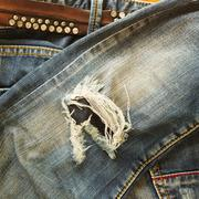 Stock Photo of denim jeans blue old torn of fashion jeans design