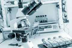 workbench in microbiological laboratory - stock photo