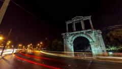 4K 25p Night Timelapse Arch of Hadrian motion control pan Olympeion Stock Footage
