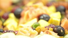 Extreme Closeup of Fresh Fruit Salad Stock Footage