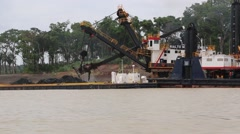 Dredging Shoreline with Escavator Stock Footage
