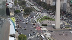 View of Obelisk and Traffic at the Plaza de la República Stock Footage