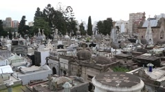 Isolated Shot of Ornate Gravestones in Catholic Church Cemetery Stock Footage