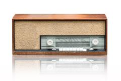 Vintage radio on the white - stock photo