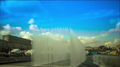 Timelapse Festival fountain sky clouds water wind harmony blue shine Stock Footage